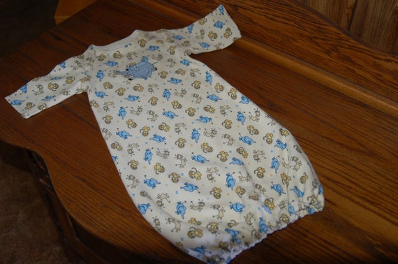 Newborn Kint Gown With  Embroidered Elephant