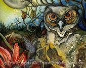 Fairy Art, Print, Reproduction, Owl, Moon Fantasy 8x10 Print