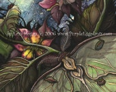 Mother and child fairy sit under the full moon with Luna Moth 5x7 watercolor print - PurpleEggplants