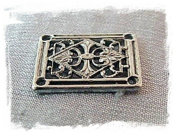 Silver Ox Rectangle Filigree (x6)