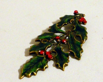 Enameled Holly leaf  brass ox -1 piece
