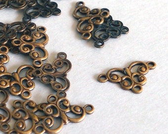 Brass Ox  Filigree mini connector 6 pieces