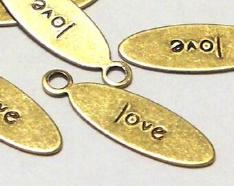 Love word tag oval brass ox (x6)