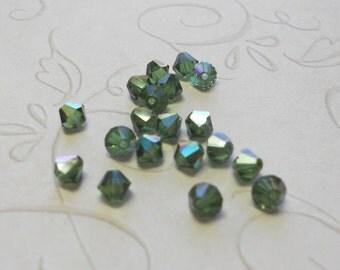 4mm Green Turmaline ab Swarovski bicone beads (x24)