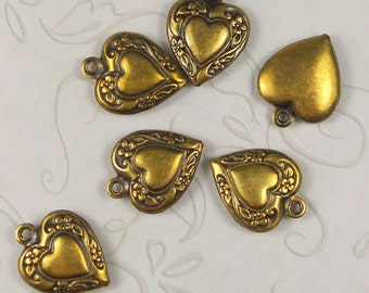 Heart charm brass ox (x4)