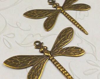 Dragonfly Charm brass ox (x2)