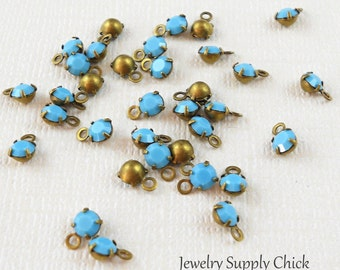 Turquoise crystal 4mm drop (x12+)