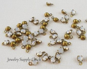 White Opal crystal 4mm drop (x12+)