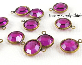 Fuchsia Swarovski crystal channel drops 10mm (x6)