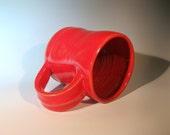 Large Red Handmade Coffee Mug, Ceramic Mug Pottery
