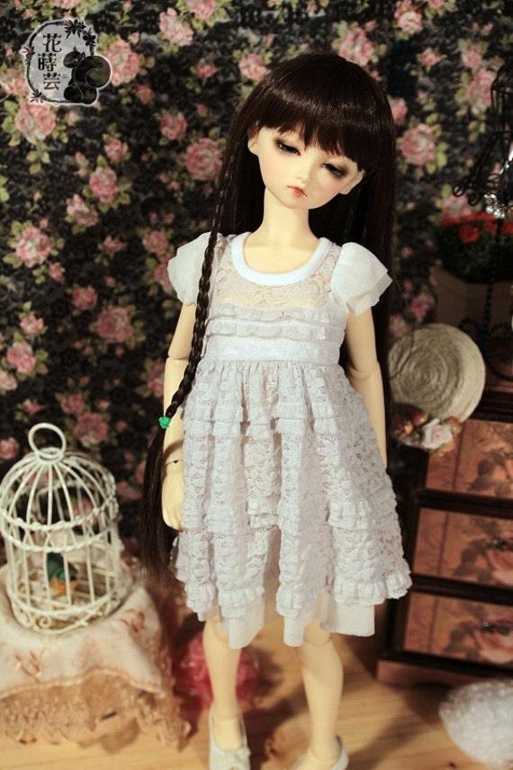 SAYOKO outfit 10/13SD dollfie 1/3 BJD Light Gray Lace Dress