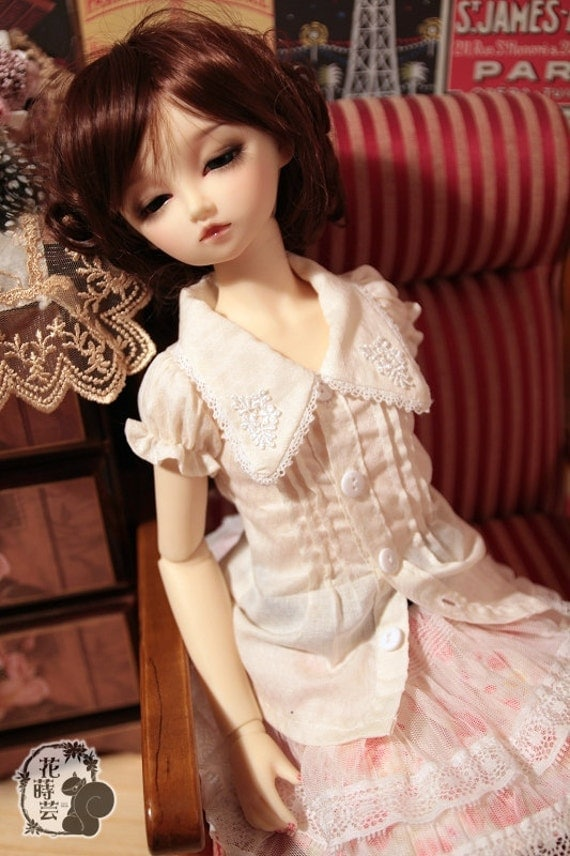 SAYOKO outfit LUTS dollfie 1/4 BJD White Lace Top Shirt