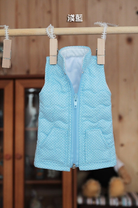 SAYOKO outfit for 10/13SD dollfie 1/3 BJD - Blue cotton-padded waistcoat (No.a267)