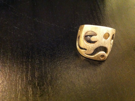 Vintage Sterling Silver Unique Geometric Shape Abstract Ring SIZE 7 3/4