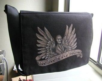 SALE! 15% OFF! Memento Mori skull and wings hand painted black vegan messenger style cross body handbag
