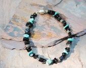 Men's Gemstone Bracelet - Silver, Turquoise and Obsidian chips