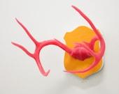 Faux Animal-Friendly Antlers - Hot Pink on Orange Felt