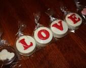 One Dozen Vanilla or Chocolate Covered Oreos - LOVE with Hearts