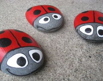 Ladybug Garden Stone - hand painted, Lake Superior Basalt stone - Perfect gift for garden lovers! Housewarming gift, summer BBQ host gift
