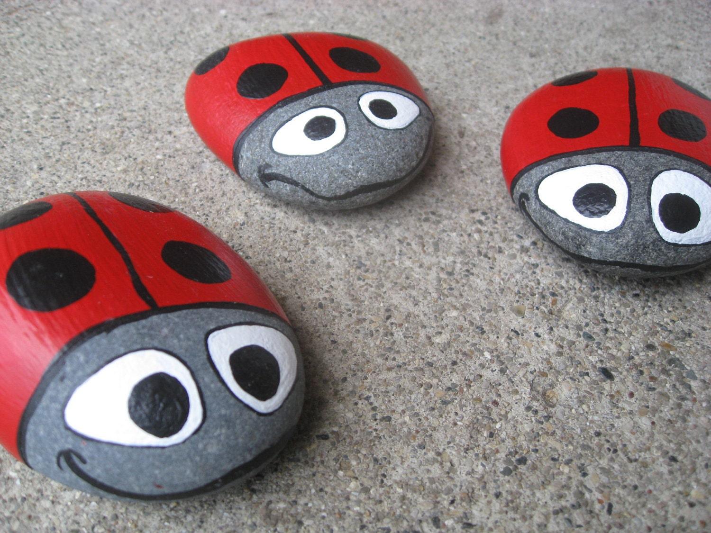 Ladybug garden stone hand painted lake superior basalt - Hand painted garden stones ...