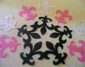 100 FLEUR de LIS Die Cuts, Black White and Pink  Fleur de Lis Embellishmentsts, Wedding Confetti, Party Decoration
