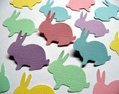 100 PASTEL BUNNY Die Cuts, Baby Shower  Embellishments, Birthday Confetti, Easter Rabbit Confetti, Textured Cardstock