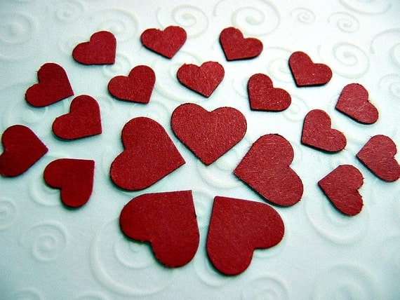 280 SMALL & MINI Red HEART Die Cuts, Red Hearts Embellishments, Birthday Confetti, Wedding Table Decoration, Bridal Shower, Sweet Hearts