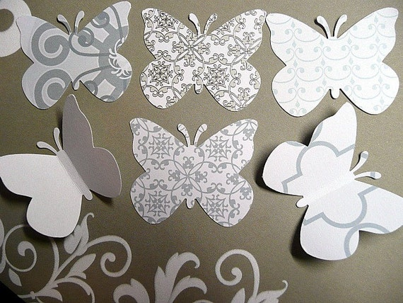 40 LARGE WHITE Wedding BUTTERFLY Die Cuts, Bridal, Baby Shower Embellishments, Birthday Decoration, Paper Confetti  by EnchantedForest7