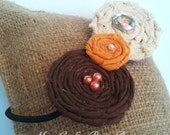 Fall Fabric Flower Headband Rosette Trio