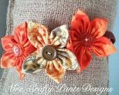 Fall Fabric Flower Headband Frangipani Trio, Elastic, Orange Green Yellow