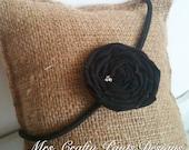 Cyber Monday Fabric Flower Headband, Black Rosette with Rhinestones, Elastic