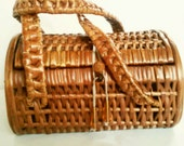 Vintage Wicker Basket Purse, Picnic Style, Handbag