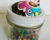 Pincushion Canning Jar, Mason Jar, Pick your fabric