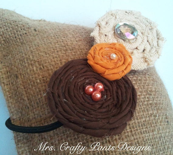 Fall Fabric Flower Headband Rosette Trio