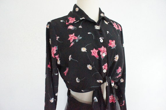 90s Grunge Floral Crop Top Blouse Size Small Medium