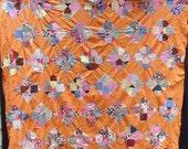 Vintage FEEDSACKS QUILT TOP, Orange, 1940 s, hand sewn, fun fabrics, patchwork, fabric