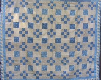 Graphic VINTAGE QUILT TOP, blue, black, calico, Sawtooth border, c 1900, hand sewn, classic collectible