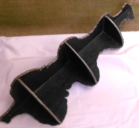 SHABBY WOOD SHELF, vintage, cottage chic, black paint, rustic patina, Charm