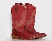 Size 6 Leather Cowboy Boots 1980s Vintage
