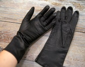 Silk Lined Black Leather Gloves Size 6.5 Extra Small