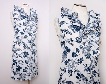 Deadstock Ruffle Floral Day Dress Size Small Medium Vintage 1970s