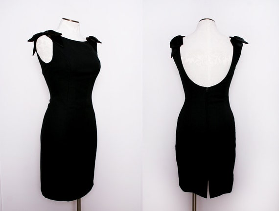 Black Cocktail Dress with Low Back Bow Detail Size Small Medium 1980s Vintage