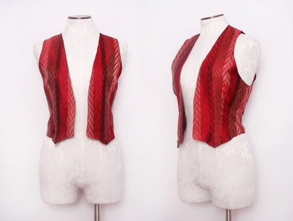 1970s Silk Boho Vest / Vintage 70s Red Chevron Vest / Medium Large