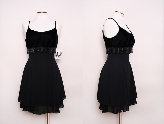 1980s Beaded Black Mini Dress / Deadstock / Medium
