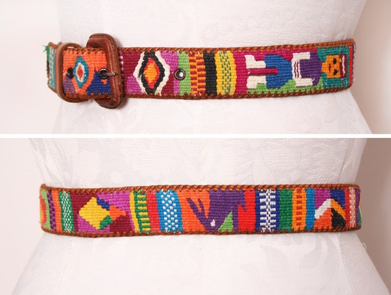 Hand Woven Southwestern Leather Belt Mexican Style Size Medium Large