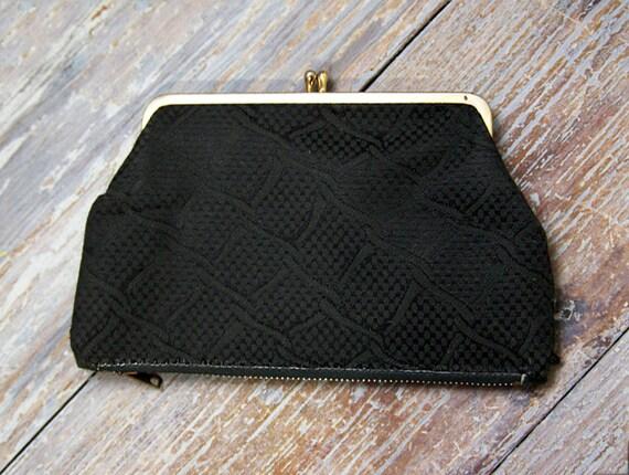 Vintage 1950s Change Purse Black Pouch