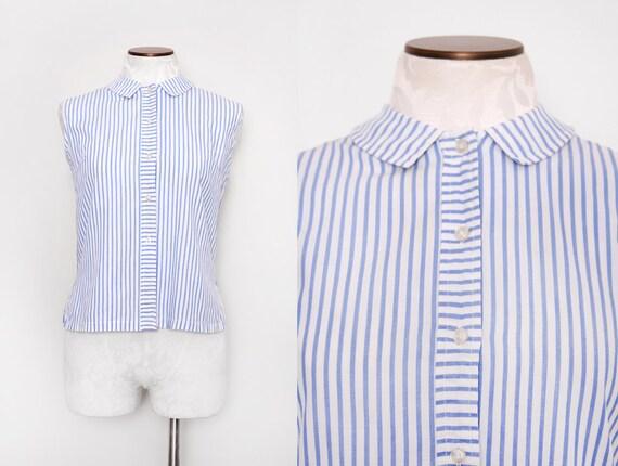 Pin Stripe Peter Pan Collar Sleeveless Blouse Top Size Medium Large 1960s Vintage