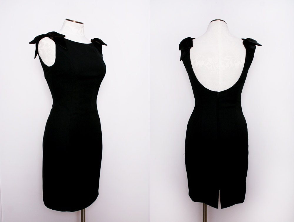Black Cocktail Dress with Low Back Bow Detail by FancyThatVintage