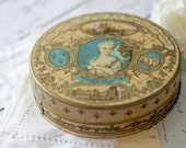 Antique French Candy Tin - Turquoise, Gold and Brown - circa 1900's - RARE