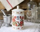 Vintage French Milk glass Apothecary Jar - Rose - Rosa Gallica by Verreries Brosse